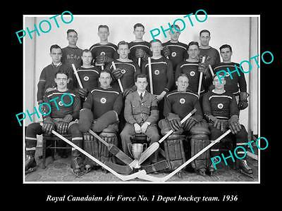 Old Large Historic Photo Of The Royal Canadian Air Force Ice Hockey Team 1936