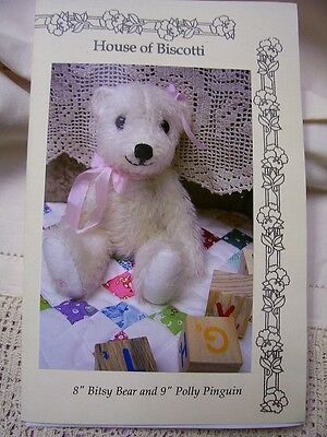 "8"" Baby Polar Bear Pattern, Mohair Bear  and Penguin"