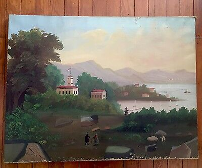 Large Vintage Scenic American Folk Art Primitive Painting Stretched Canvas 1900s