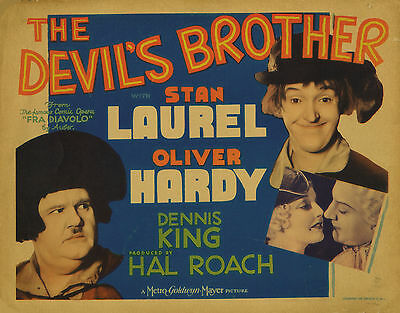 The Devil's Brother 11X14 Title Lobby Card TLC Laurel & Hardy Thelma Todd