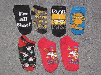 GARFIELD sock lot SNOOPY peanuts CHRISTMAS pre-owned SIZE 2-3 boys