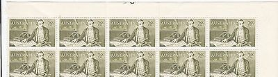 Stamps Australia 75c Captain Cook Navigator in plate 3 top margin block 10 MUH