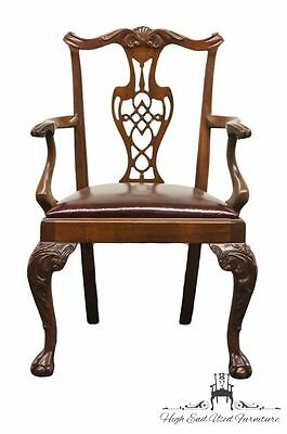 High End Solid Mahogany Chippendale Arm Chair w/ Leather Seat