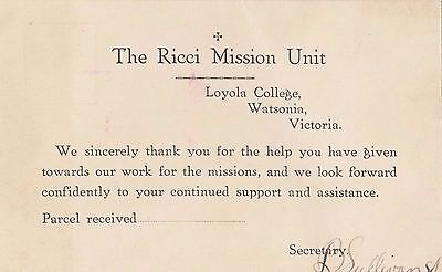 The Ricci Mission Unit Watsonia Victoria pre-printed postcard signed secretary
