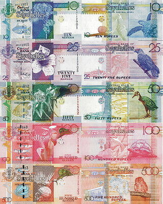 SEYCHELLES - Lotto Lot 5 banconote 10/25/50/100/500 Rupees FDS - UNC