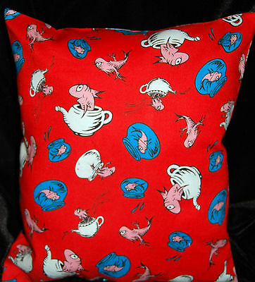New Handmade  Dr Seuss The Cat In The Hat Red Fish In The Bowl/teapot  Pillow