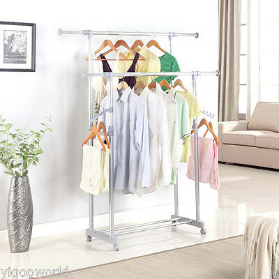 Commercial Metal Double Rail Clothing Garment Rolling Rack Clothes Hanger Holder