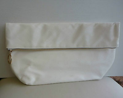 CLARINS White fold over Makeup Cosmetics Bag, Large Size, Brand NEW!