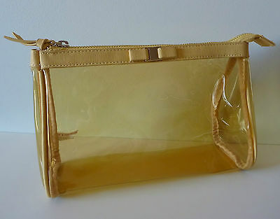 CLARINS Gold See Through Makeup Cosmetics Bag, Brand NEW!