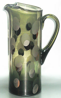 Vintage Art Deco Cylindrical Glass Jug With Silver Spots 25.5 cm High