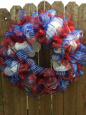 """Red White and Blue Handcrafted Wreath 24"""""""