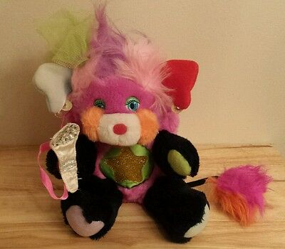 "1986 Vintage Popples Stuffed Toy Rock Star Punkity with Microphone 10"" Plush"
