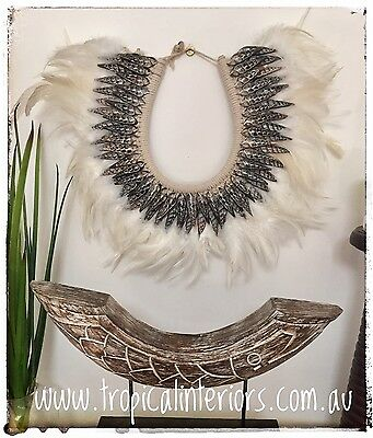 Hamptons Coastal Luxe Beach House Feather & Shell Necklace Home Wall Hanging