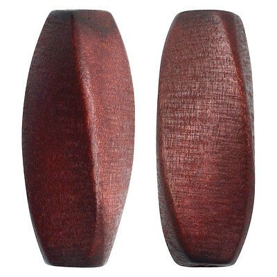 Smooth Wood Beads, Oval Twist 30x11mm, 6 Pieces, Dark Brown