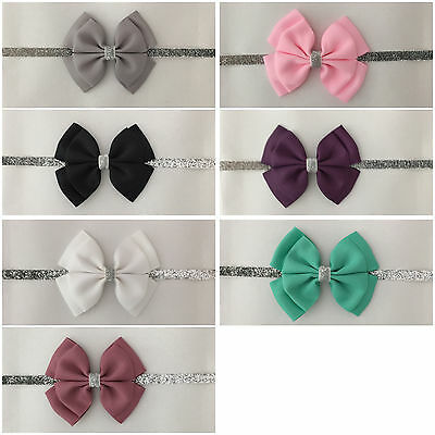 girls baby headband hair band bow clip flower photo party dance nylon