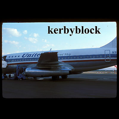 Vintage Kodachrome Photo Slide United Airlines Airplane Airport