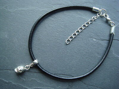 Black leather 3mm cord thong anklet Gothic silver skull charm & ext chain