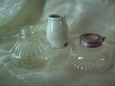 Vintage Ink Pots Glass and Pottery