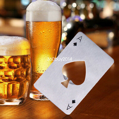 Ace of Spades Stailess Steel Bottle Opener Card Wallet Poler Playing Card in UK