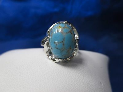 BOHO Sterling Silver Turquoise Ring, Oval Turquoise