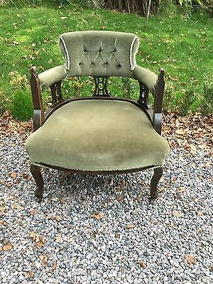 Antique Victorian  Library / Fireside Button Back Chair