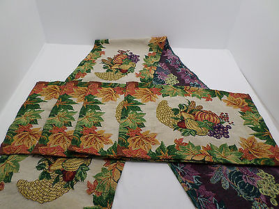 5 pc tapestry place mats & Table runner Set Fall Autumn Thanksgiving Leaves