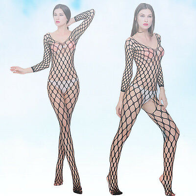 Lady Mens Sleepwear Jumpsuits  Fishnet Body Stocking Sex Costumes Jumpsuits