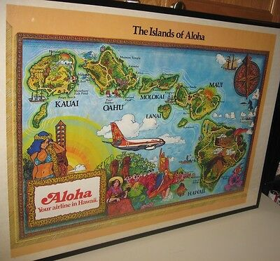 Vintage Aloha Airlines Hawaii Map Travel Large Rolled Poster Tiki Bar Decor