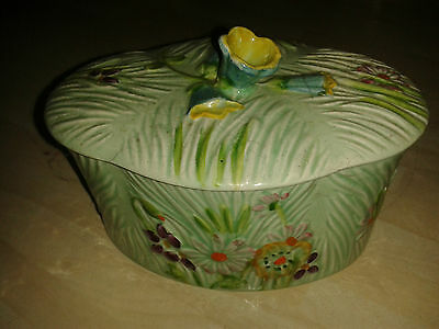 EXTREMELY RARE OVAL SHAPE BESWICK WAYSIDE No. 875 LIDDED FLORAL BUTTER JAM DISH