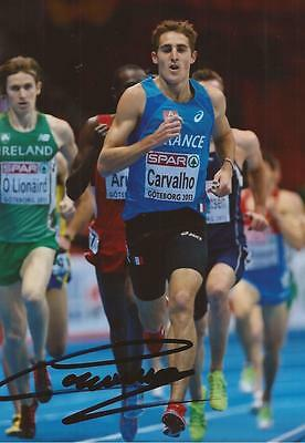ATHLETICS: FLORIAN CARVALHO SIGNED 6x4 ACTION PHOTO+COA *FRANCE*
