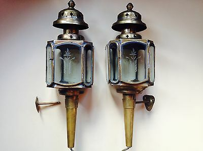 Pair of RARE Antique brass with etched glass carriage lights