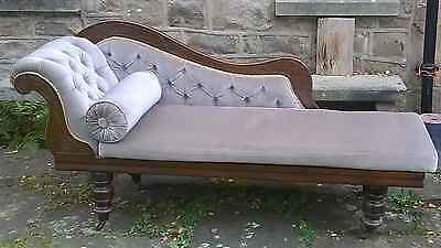Antique Edwardian Mahogany Green Velvet Chaise Longue With Scroll Cushion