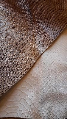 Brown and Tan leather in the style on snakeskin 111cm x 110cm