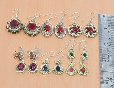 Silver & Brass Wholesale 6Pair Faceted Ruby & Mix Stone Turkish Earring Lot