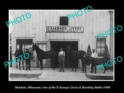 OLD LARGE HISTORIC PHOTO OF MANKATO MINNESOTA, THE SAENGER HORSE STABLES c1900