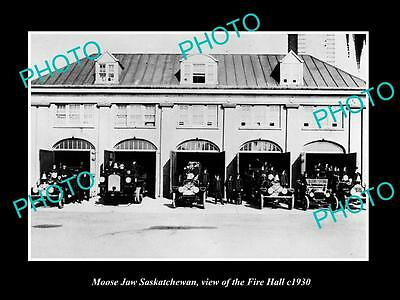 OLD LARGE HISTORIC PHOTO OF MOOSE JAW SASKATCHEWAN, VIEW OF THE FIRE HALL c1930