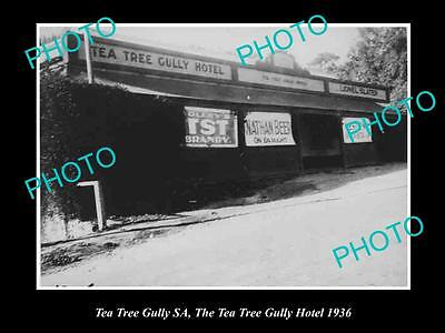 Old Large Historical Photo Of Tea Tree Gully Sa, View Of The Ttg Hotel 1936