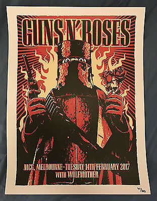 Guns N Roses Litho Melbourne Australia Hand Numbered Lithograph 14 February 2017