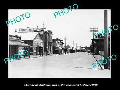 OLD LARGE HISTORIC PHOTO OF CLARE SOUTH AUSTRALIA, THE MAIN St & STORES c1930