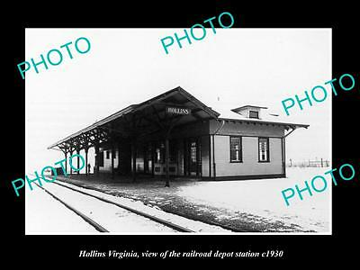 OLD LARGE HISTORIC PHOTO OF HOLLINS VIRGINIA, THE RAILROAD DEPOT STATION c1930