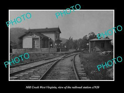 OLD LARGE HISTORIC PHOTO OF MILL CREEK WEST VIRGINIA, THE RAILROAD DEPOT c1920