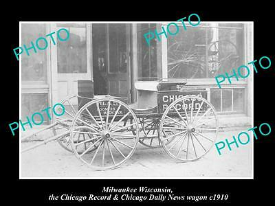 OLD LARGE HISTORIC PHOTO OF MILWAUKEE WISCONSIN, CHICAGO RECORD NEWS WAGON c1900