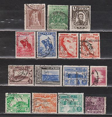 Perú - 1896-1950 - 15 Different Stamps