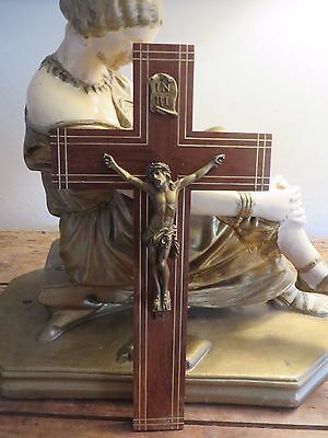 BEAUTIFUL LARGE VTG.FRENCH WOODEN CRUCIFIX / CROSS 1930's / 40'sWITH BRASS INLAY
