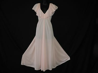 Vintage Lucie Ann Nylon Nightgown Pink Ruffle Nylon Sissy Full Sweep Gown Small