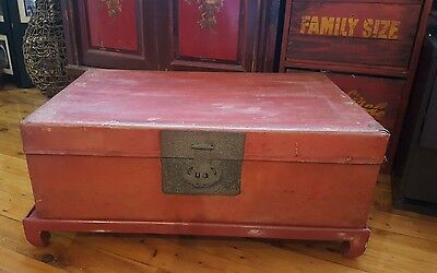 Chinese original antique red leather covered chest with original stand!