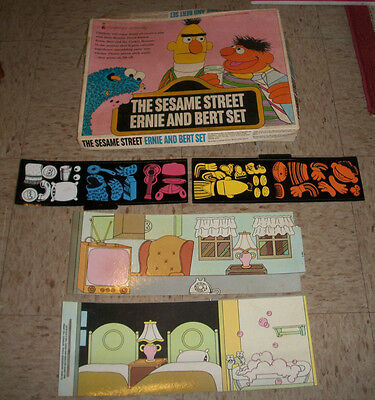 Vintage 1971 The Sesame Street Ernie And Bert Colorforms Large Box Set