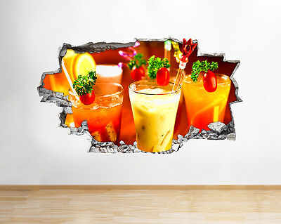 Q347w Cocktails Drink Living Hall Smashed Wall Decal 3D Art Stickers Vinyl Room