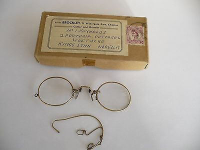 Antique Lorgnette Yellow Metal Framed Glasses