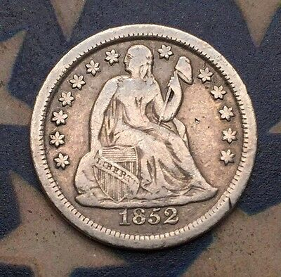 1852 10C Seated Liberty Dime 90% Silver Vintage US Coin #CE5 Very Sharp See Pics